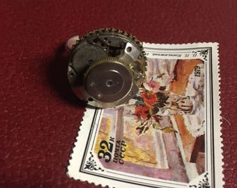 Steampunk Watch Movement Ring, Adjustable, Heavy Costume Jewelry