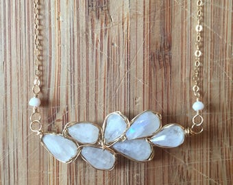 Wire-Wrapped Rainbow Moonstone Statement Necklace with 14 Karat Gold-Filled Wire and 14 Karat Gold-Filled Chain