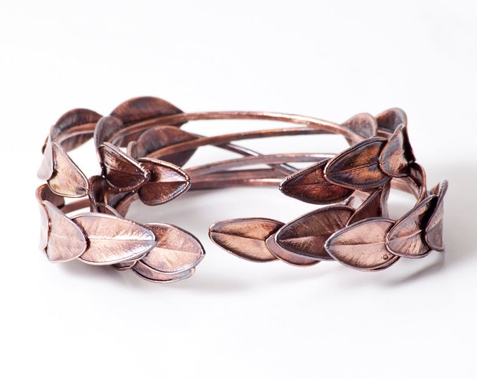 Featured listing image: Copper Cuff Bracelet / Leaf Bracelet / Nature Bracelet