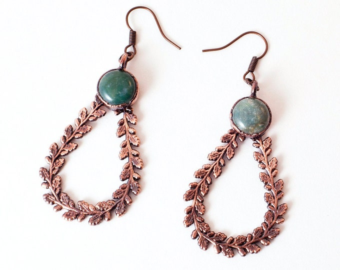 Featured listing image: Indian Agate Teardrop Earrings / Hoop Earrings / Copper
