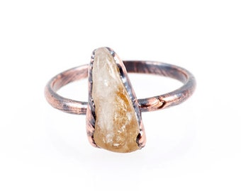 Citrine Ring - Size 7 - Copper Ring - Electroformed Ring - Healing Crystal Jewelry - Citrine Jewelry - Birthstone Ring - Crystal Ring