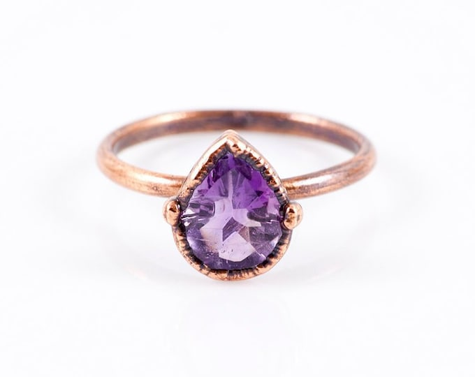 Featured listing image: Amethyst Copper Ring - Size 7 3/4  - Healing Crystal Jewelry - Faceted Stone Ring