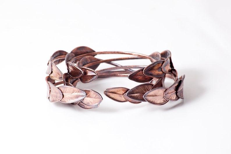 Copper Cuff Bracelet  Leaf Bracelet  Dainty Bracelet  image 0