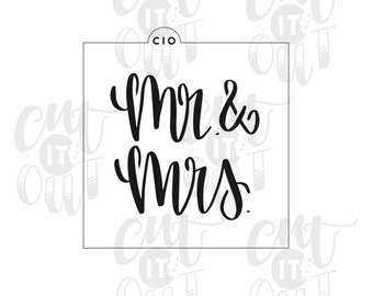 Hand Lettered Cookie Stencil Mr Mrs 2 Cookies Decorating Baking Tools