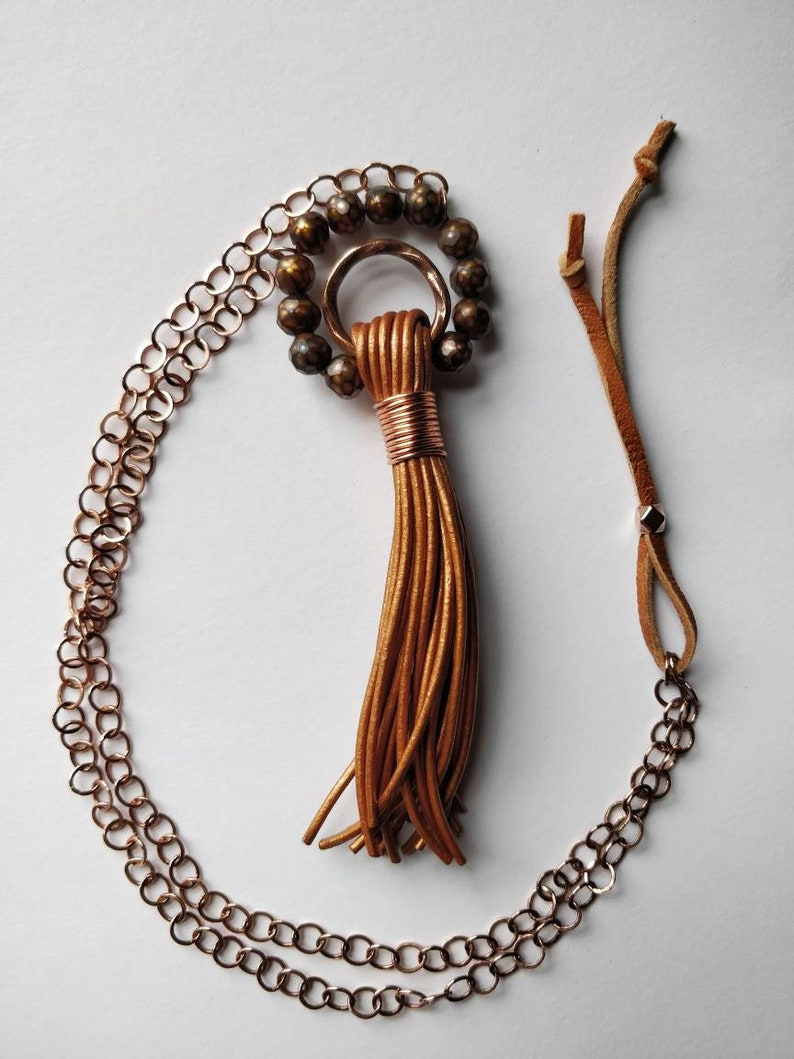 Leather Tassel with Pearls on Copper Chain