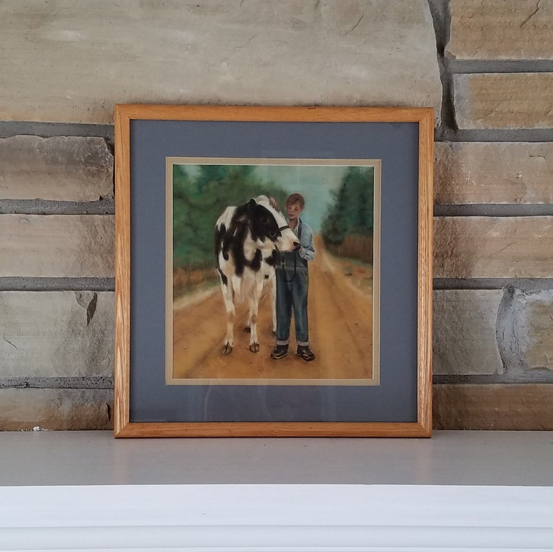 Original Soft Pastel Painting of a Boy with a Black and White Cow by Texas Artist Calonnie Gragg Nearly Square Natural Finish Wood Frame