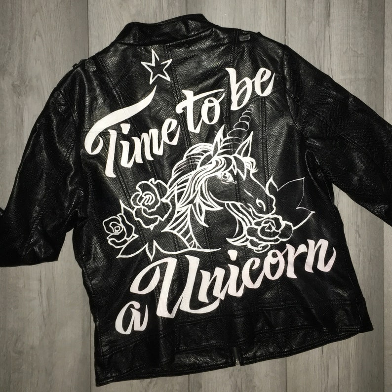 Hand-painted Leather Jacket design with slogan of your choosing. Custom
