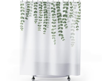 Eucalyptus Hanging Vine Curtain Green Vines Shower Unique Bathroom Decor