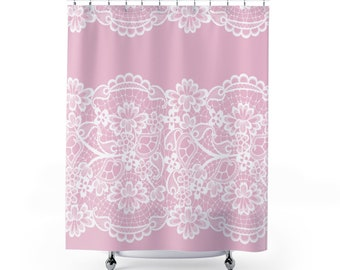 Lace Shower Curtain Pale Pink