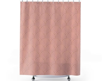 Shower Curtain Geometric Pattern Coral Gold Bathroom Decor