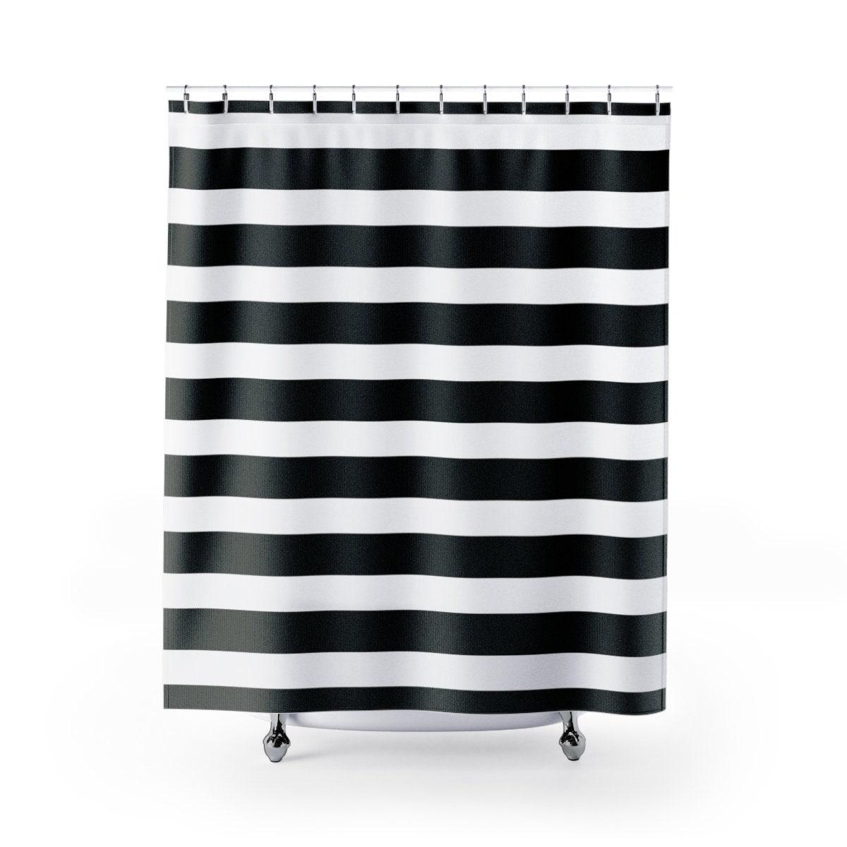 Stripes Shower Curtain Black And White Stripes Shower Decor Bathroom Decor Wide Stripes