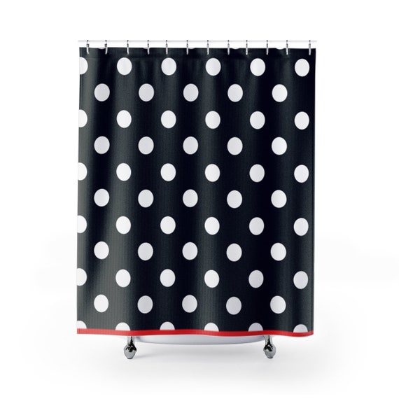 Black And White Polka Dots Shower Curtain Cute Bathroom Decor Etsy