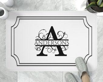 Monogrammed Bath Mat  | Elegant Bath Mat with Your Own Monogram | Classic Initials Bathroom Decor | Bathroom Makeover