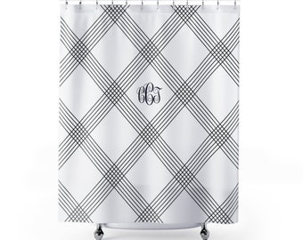 Classic and Elegant Monogrammed Shower Curtain | Your Monogram On A White and Blue Shower Curtain
