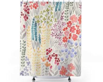 Autumn Flowers Watercolor  Shower Curtains | Colorful Spring Flowers| Botanical Shower Decor