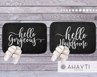 Hello Gorgeous Hello Handsome Matching Bath Mats | Black  Matching Bath Mats for a Couple | His and Hers Bathroom Decor