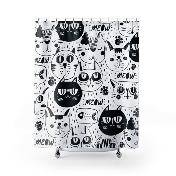 Cute black and white cats shower curtain