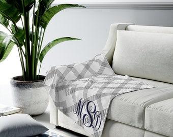Monogrammed Velveteen Plush Blanket