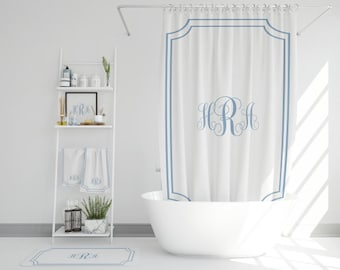 Custom Monogram Bathroom Set | Monogrammed Shower Curtain | Bath Mat and Bath Towel | Personalized Bathroom Accessories