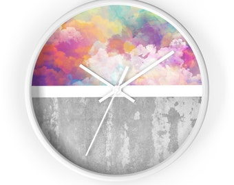 Wall Clock, minimalist design, geometric shapes, cement background, classic wall clock, colorful