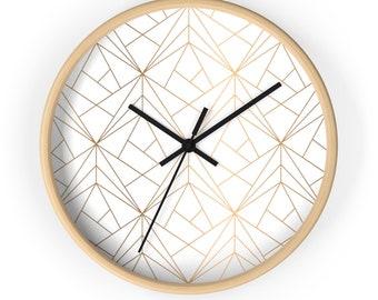 Modern Wall Clock, classic wall clock,  Minimalist Wall Clock, geometric design,abstract design Wall Clock, wood frame