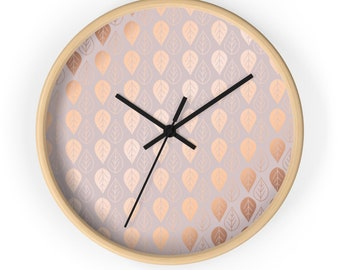 Uniqe wall Clock, rose gold leaves, wooden round wall clock