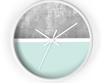 Wall Clock, minimalist design, geometric shapes, marble background, classic wall clock