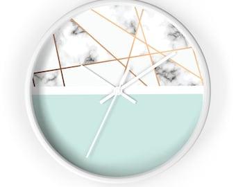 Wall Clock, minimalist design, geometric shapes, marble background, classic wall clock, aqua