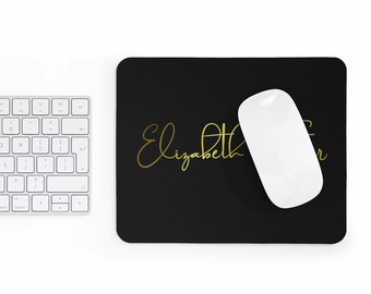 Elegant Mousepad, custom name mouse pad, personalized mouse pad, golden text over black background