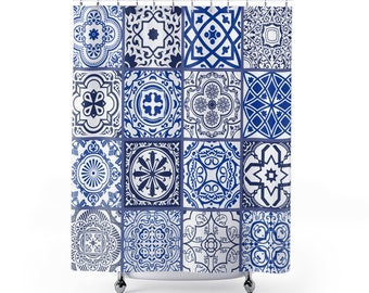 Beautiful Mosaic Pattern Shower Curtain | Blue and White Classic Shower Curtain
