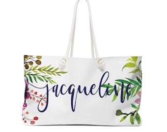 Personalized tote bag, custom name tote bag, tropical flowers, beach bag, weekender rote