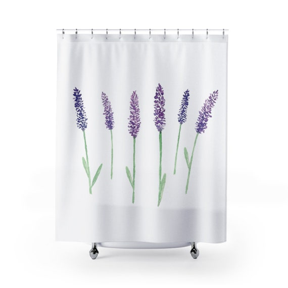 Shower Curtain Lavender Flowers White With