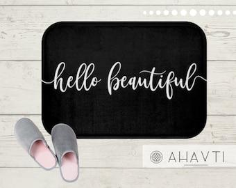 Hello Beautiful Bath Mat |  Shower Decor | Black and White Bath Mat | Fun Bathroom Accessories