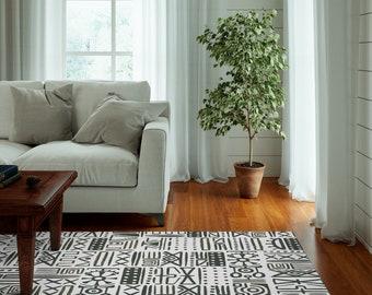 African Pattern Dornier Rug | Black and White Living Room Or Bedroom Rug