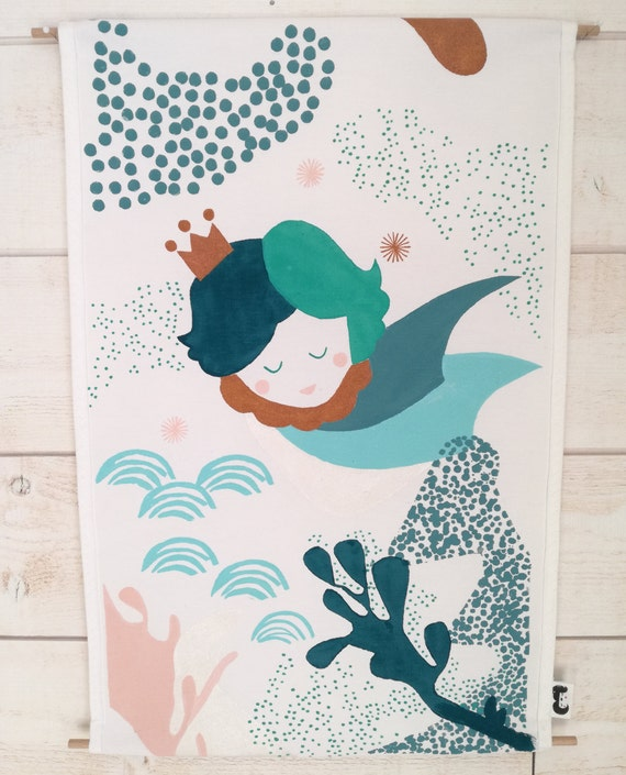Décoration murale - tenture - affiche - chambre bébé garçon - bleu turquoise