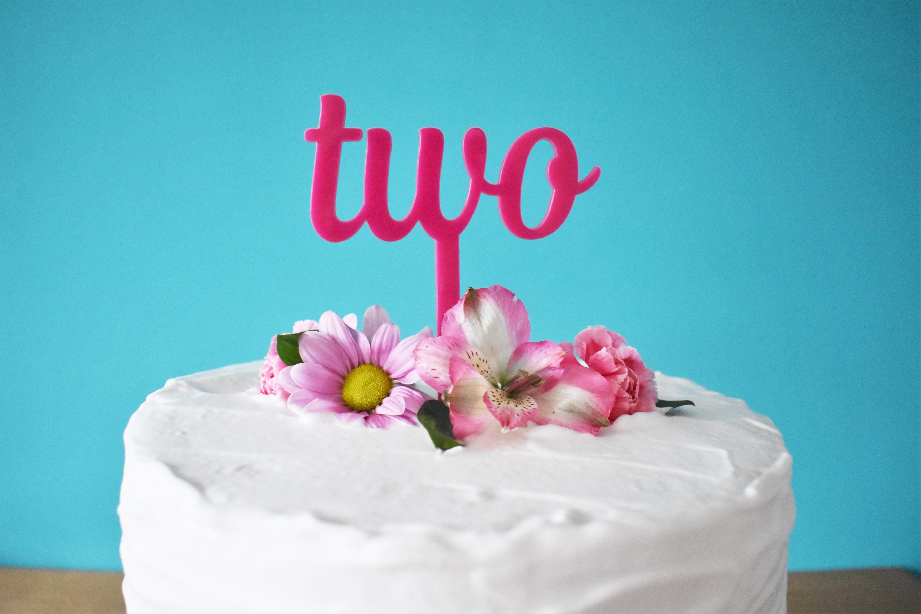 Pink Two Cake Topper Girls 2nd Birthday Party Cake Etsy