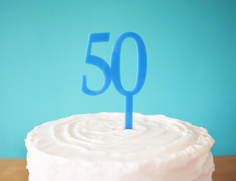 Blue 50 Cake Topper For 50th Birthday Cake 50th Birthday Etsy