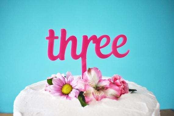 Pink Three Cake Topper For Girls 3rd Birthday
