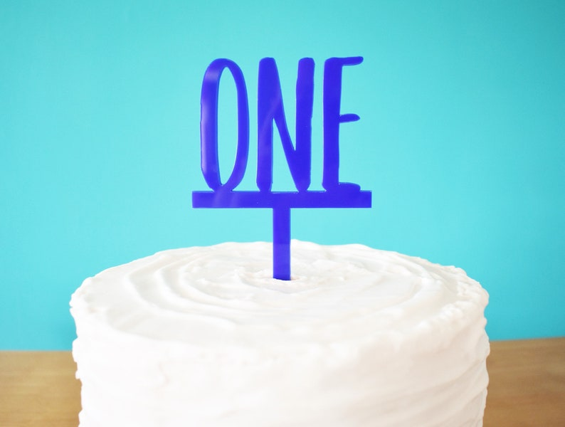 Blue ONE Cake Topper For Boys 1st Birthday First