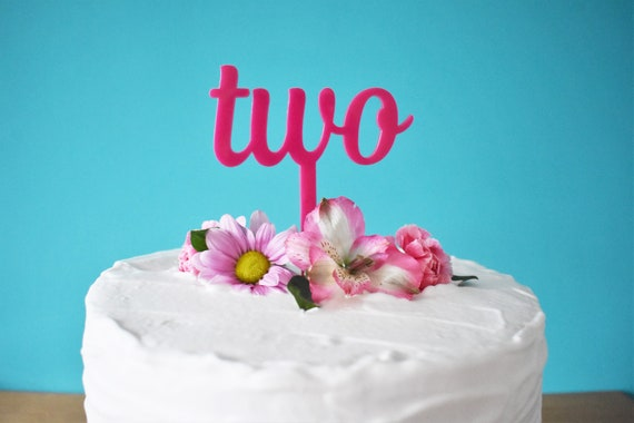 Pink Two Cake Topper Girls 2nd Birthday Party