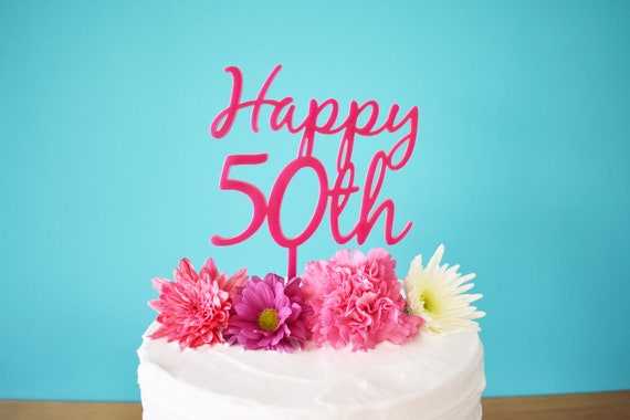 Happy 50th Pink Cake Topper For Birthday