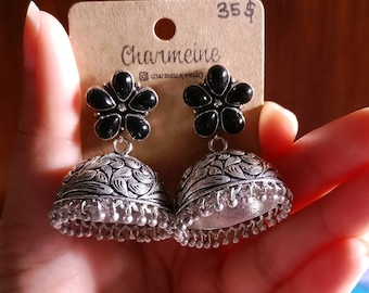 Indian Jhumkas, Oxidized Silver Earrings, Indian Wedding Jewelry, Flower earrings,