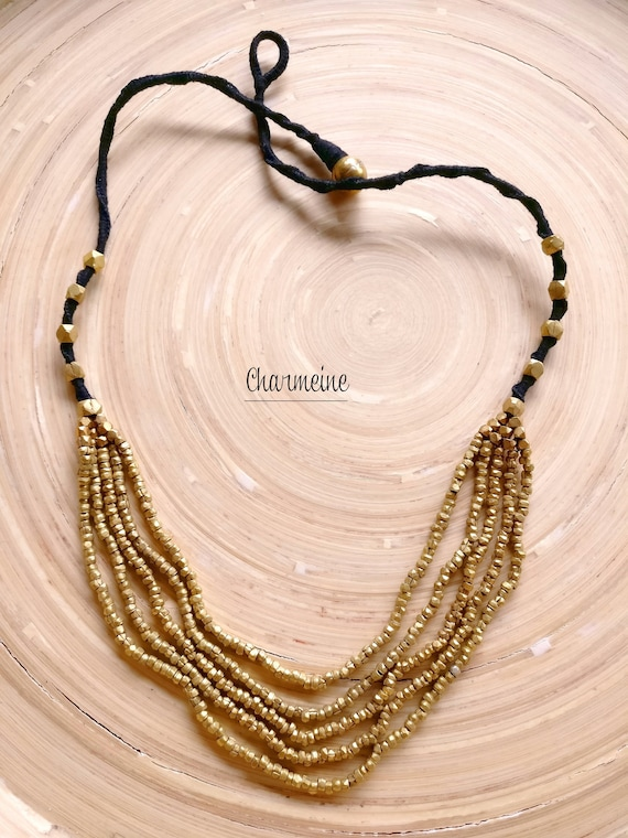 Brass Beaded Necklace Gold Tone Multi-stranded Necklace Hand woven beaded Necklace Black /& Antique Gold Layered Necklace Neck Jewelry