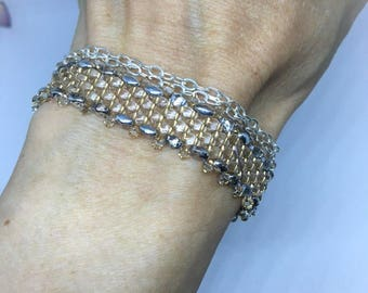 Swarovski crystals, with chain and gold Glass Beads Bracelet 925 sterling silver