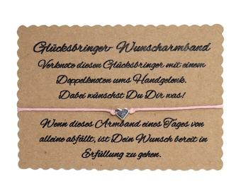 Wunscharmband make a wish Armband Freundschaft Liebe Glücksbringer Herz Rosa