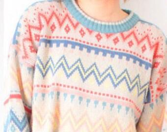 Vintage tan aztec tribal print sweater // boho navajo sweater // winter sweater // Christmas sweater // tribal print sweater // oversized