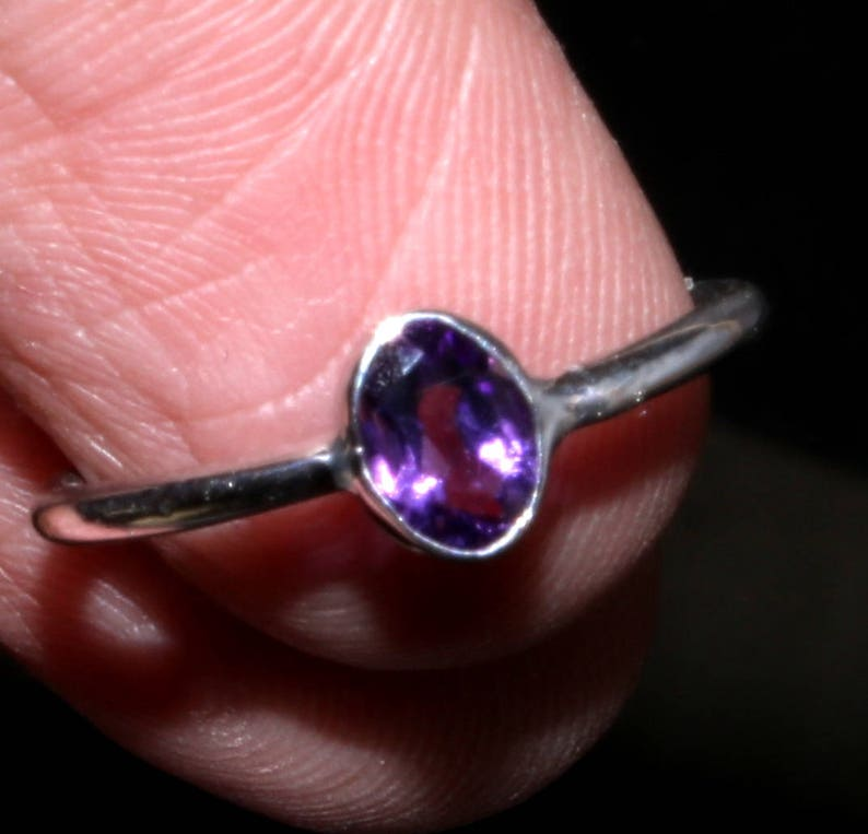 Natural African Amethyst Ring Gift-Tiny Purple Ring#R1 Purple Ring Sterling Silver Ring-Handmade-Jewelry February Birthstone Ring Love