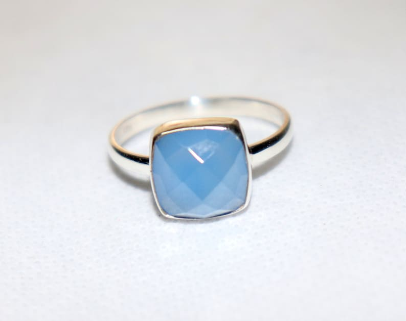 Stacking Ring Blue Chalcedony Ring Handmade Jewelry Love Gift To Her Ring Aqua Chalcedony Ring Aqua Square Cut Ring 925 Silver Ring