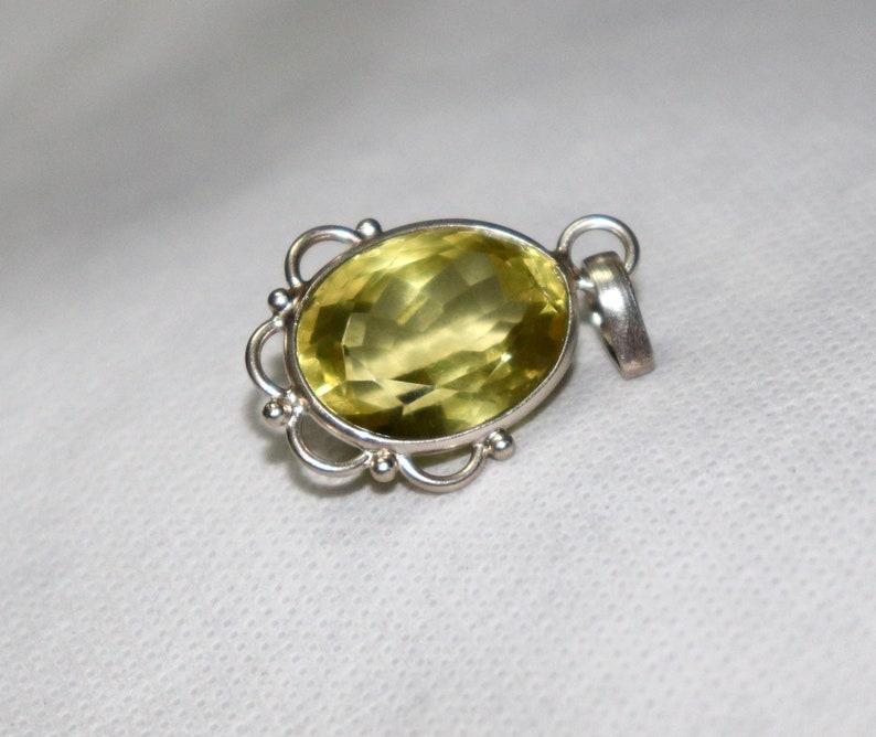 Gift to her Natural Lemon quartz Pendant-Lemon quartz Silver pendant-emerald cut Lemon quartz Pendant Jewelery Yellow stone Pendant