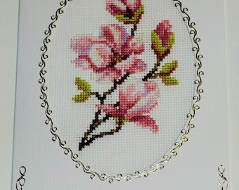 Embroidered card, greeting card, Mother's Day